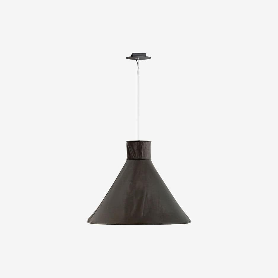 Luster Lampe Pendant Lamp Contemporary Lacquered Metal Leather Shelter