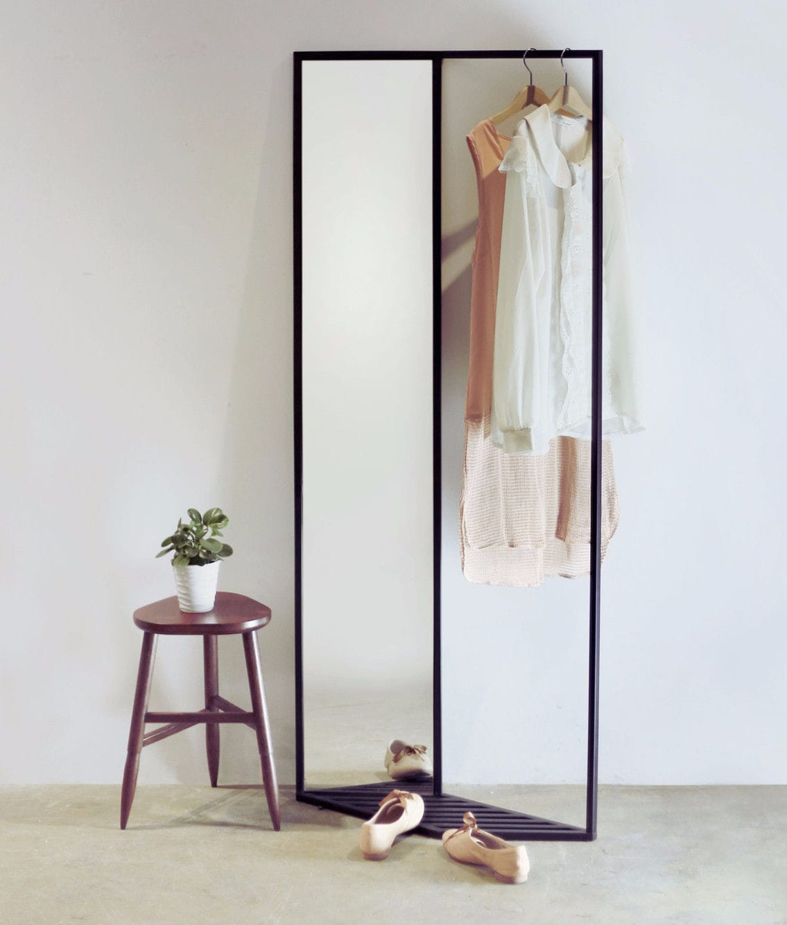 Standing Mirror Floor Standing Mirror With Storage Compartment Contemporary