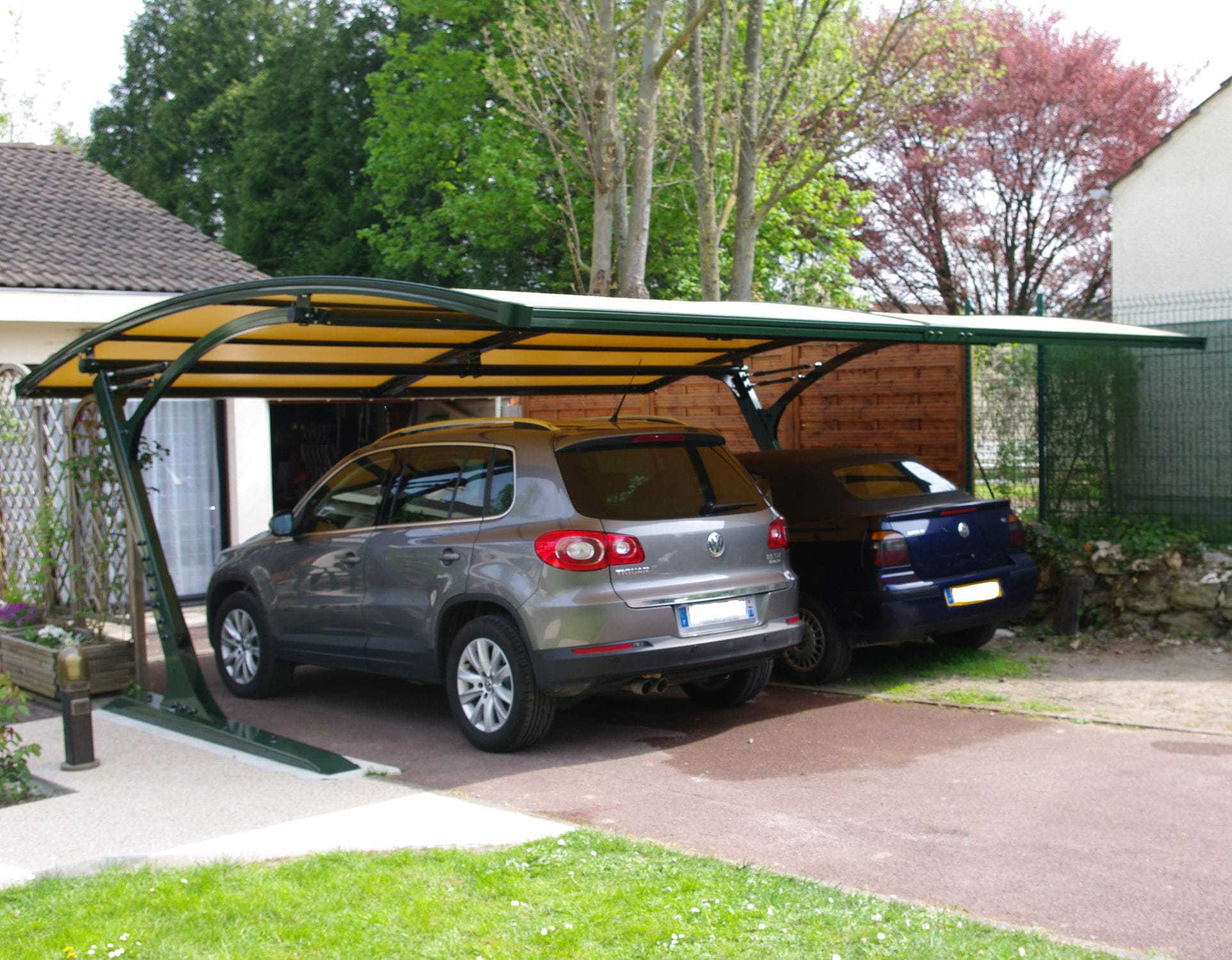 Karpot Steel Carport - St Barthe Ii Prestige - Covertou - Aluminum / Glass Fiber-reinforced Polyester / Pvc-coated