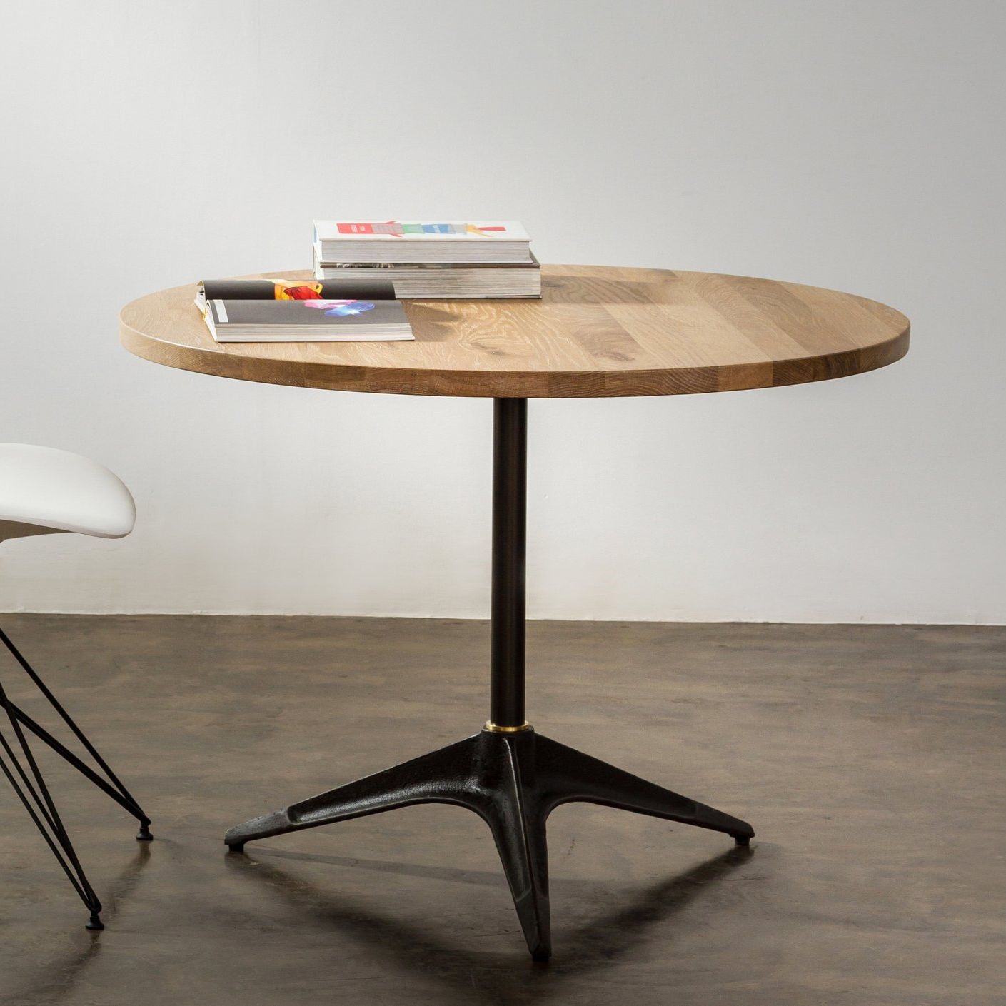 Table Bistrot Ronde Contemporary Bistro Table Steel Oak Round Compass District 8