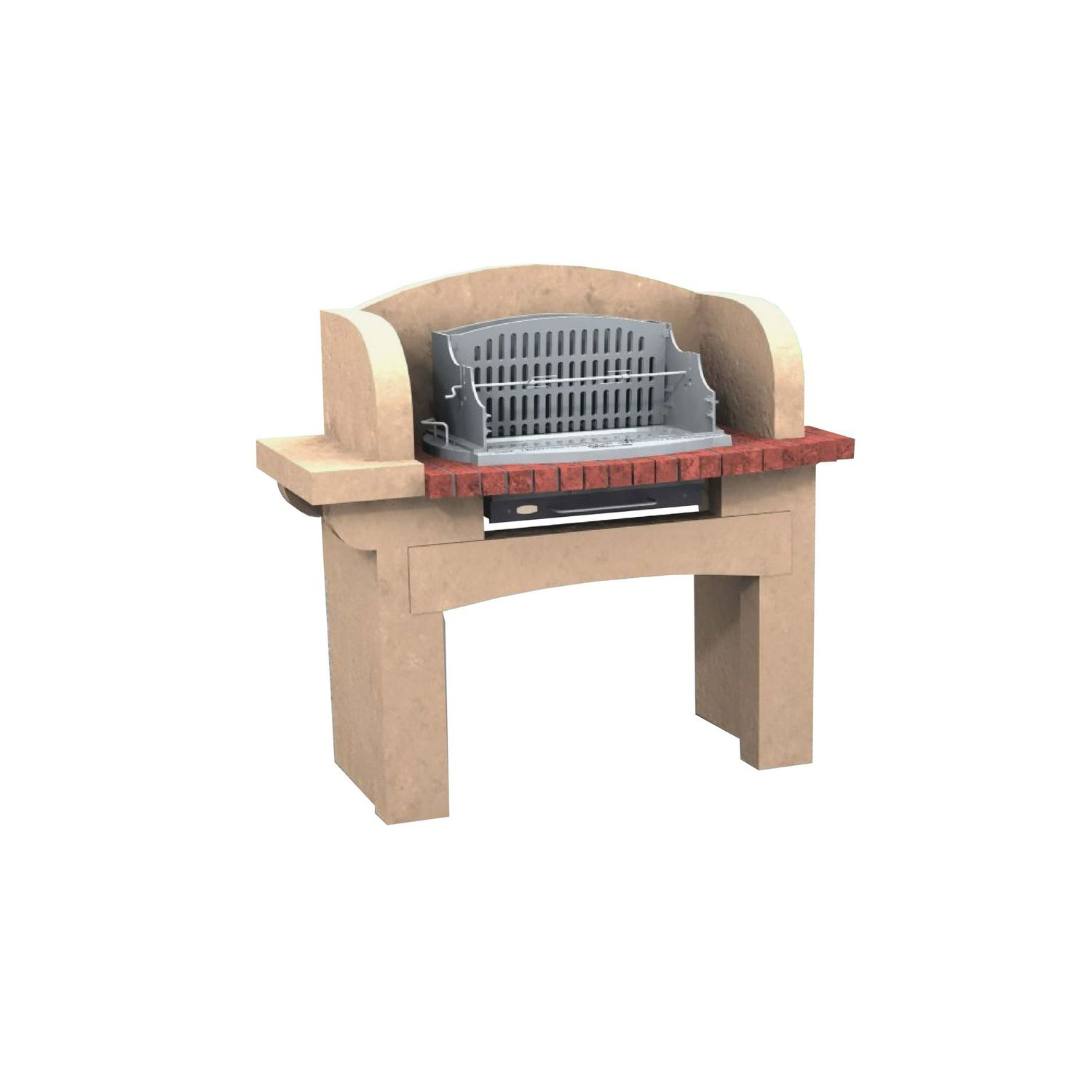 Wood Burning Barbecue Chasselas Cheminées De Chazelles Fixed Concrete Stone