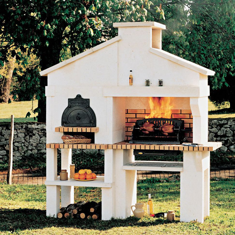 Wood Burning Barbecue Medoc Cheminées De Chazelles Fixed Cast Iron Concrete