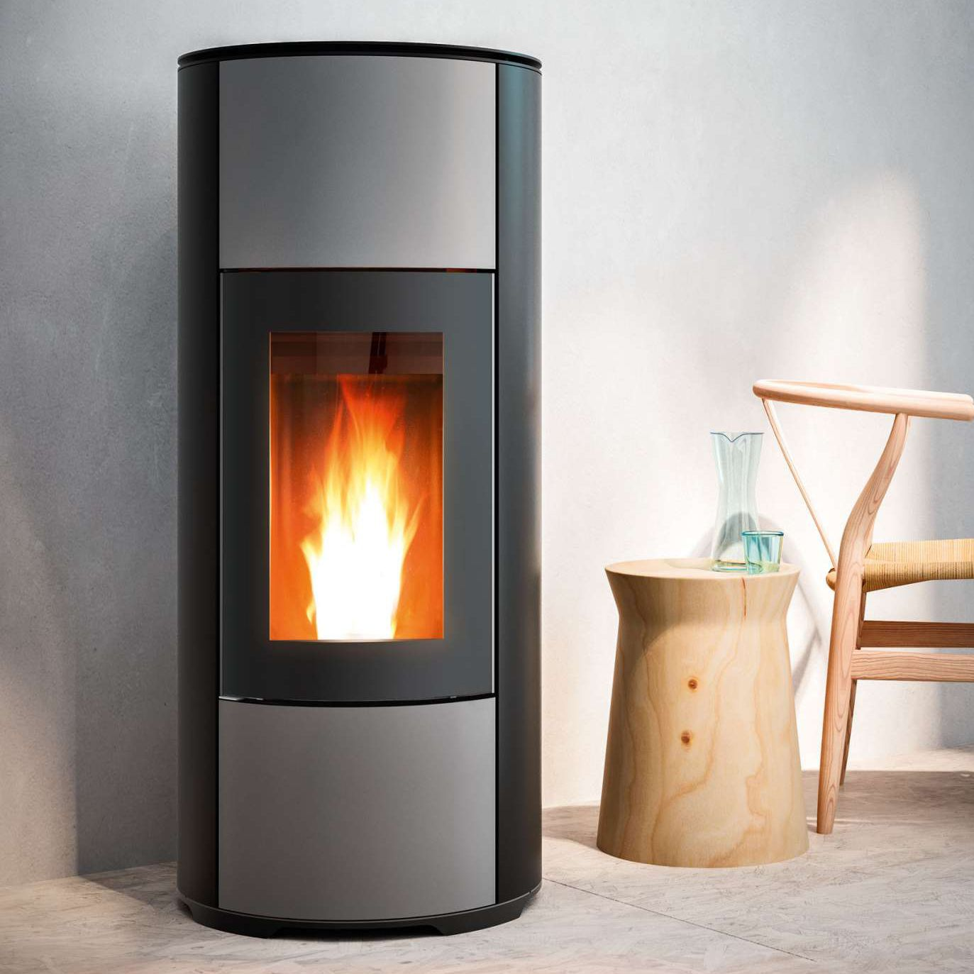 Mcz Cute Pellet Heating Stove Contemporary Corner Steel Halo Mcz