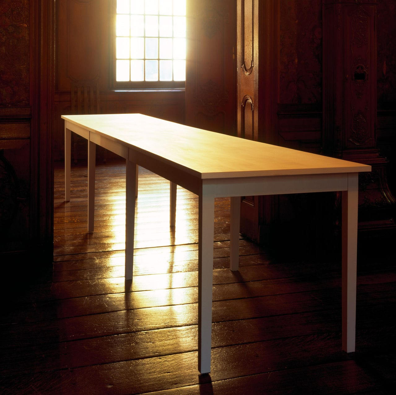 Table Blanche Contemporary Work Table Wooden Rectangular For Public