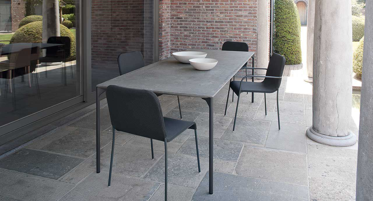 product concrete kitchen table Dining table contemporary wooden concrete PLANO by Francesco Rota PAOLA LENTI