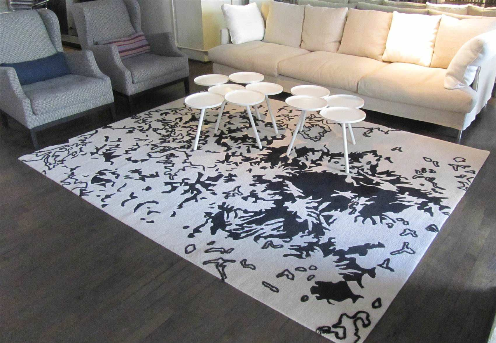 Divano Harry B&amp Contemporary Rug Patterned Wool Rectangular Ice Flowers By