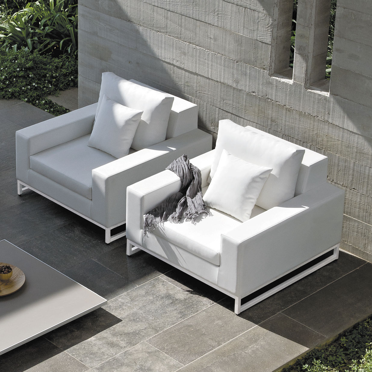 Lounge Sessel Extreme Lounging Contemporary Armchair Fabric Leather Aluminium Zendo Manutti