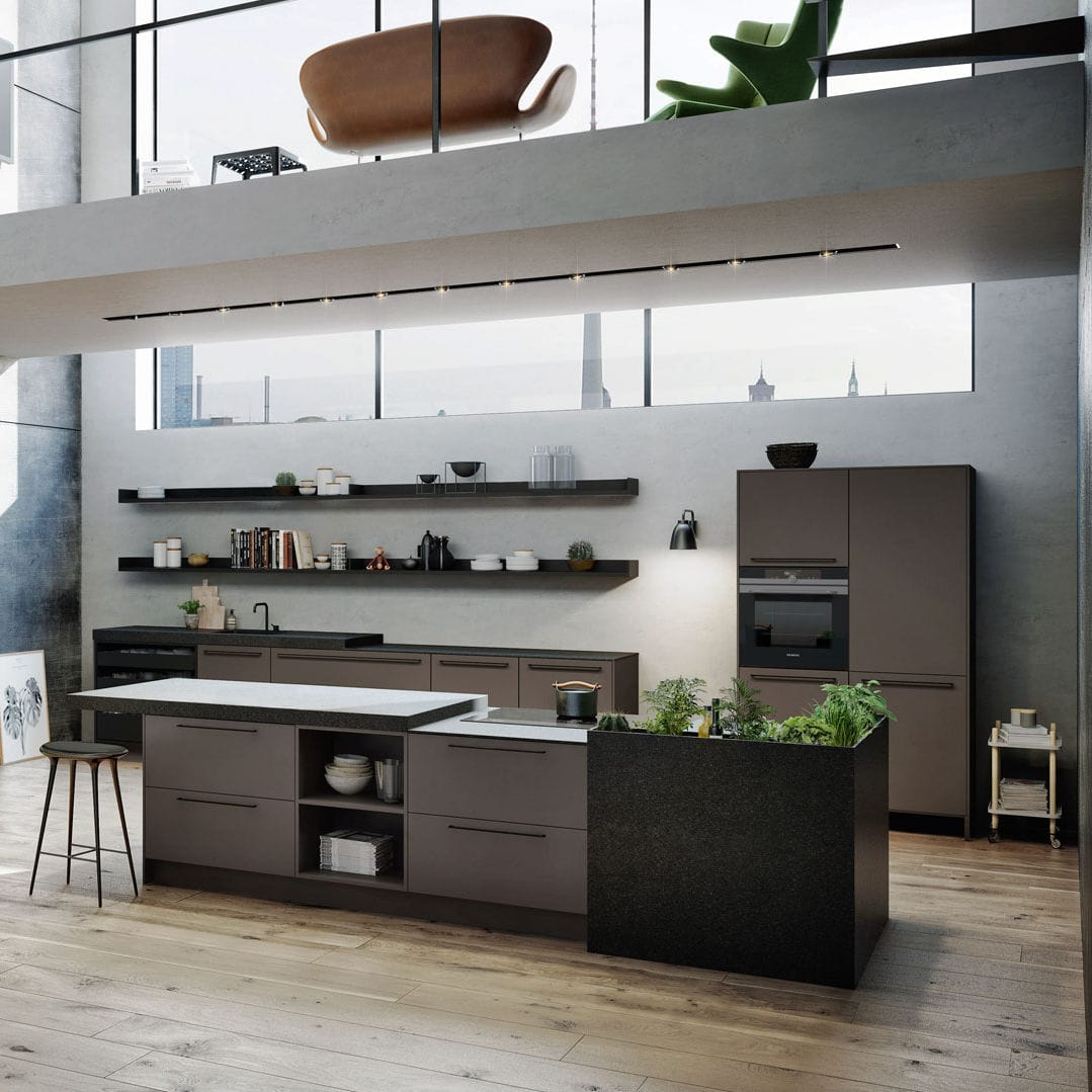Kücheninsel Country Contemporary Kitchen Lacquered Wood Wood Veneer Island