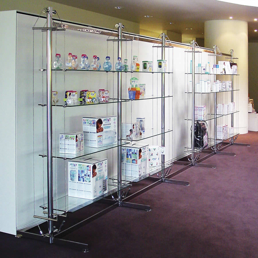Shelving Shop Contemporary Shelf Glass For Shops Commercial Twin Rig