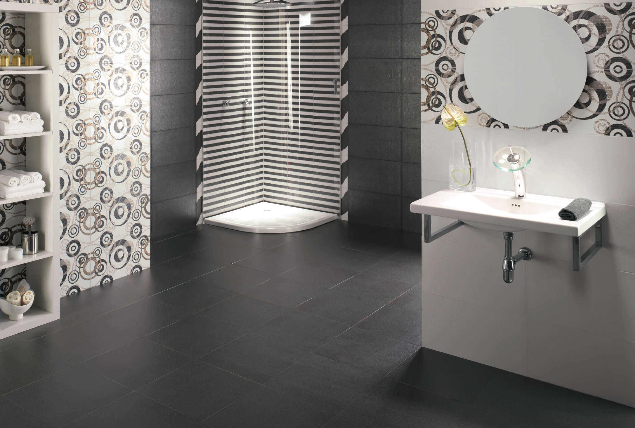 Lino Noir Indoor Tile Bathroom Wall Porcelain Stoneware Traditional