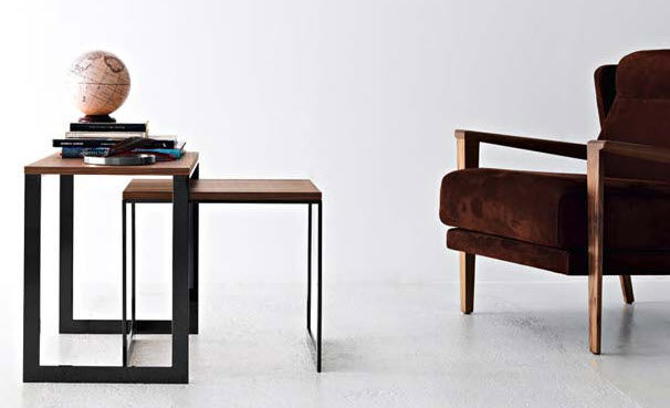 Contemporary nesting tables / wooden / metal / square - STAND UP by