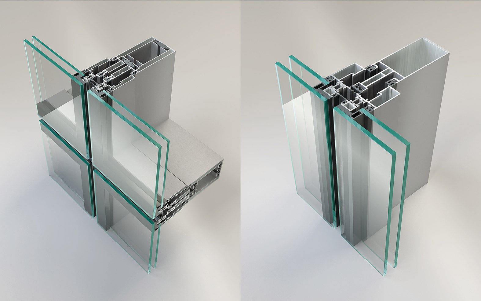 Acoustic Curtain Wall Spandrel Curtain Wall Metal And Glass Transparent Acoustic