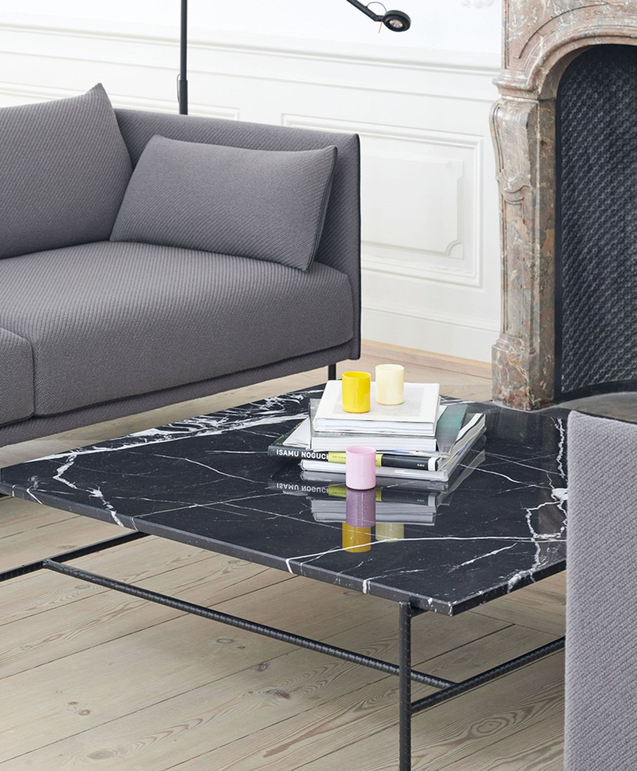 Contemporary Coffee Table Rebar Hay A S Metal Marble Rectangular