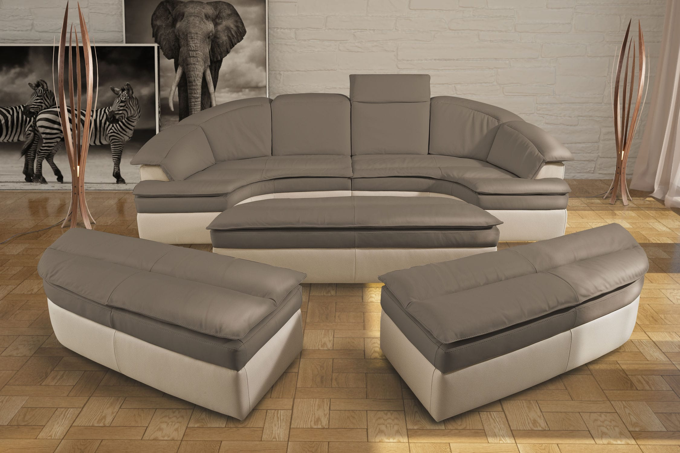 Couch Halbrund Modular Sofa Semicircular Contemporary Leather Galaxy