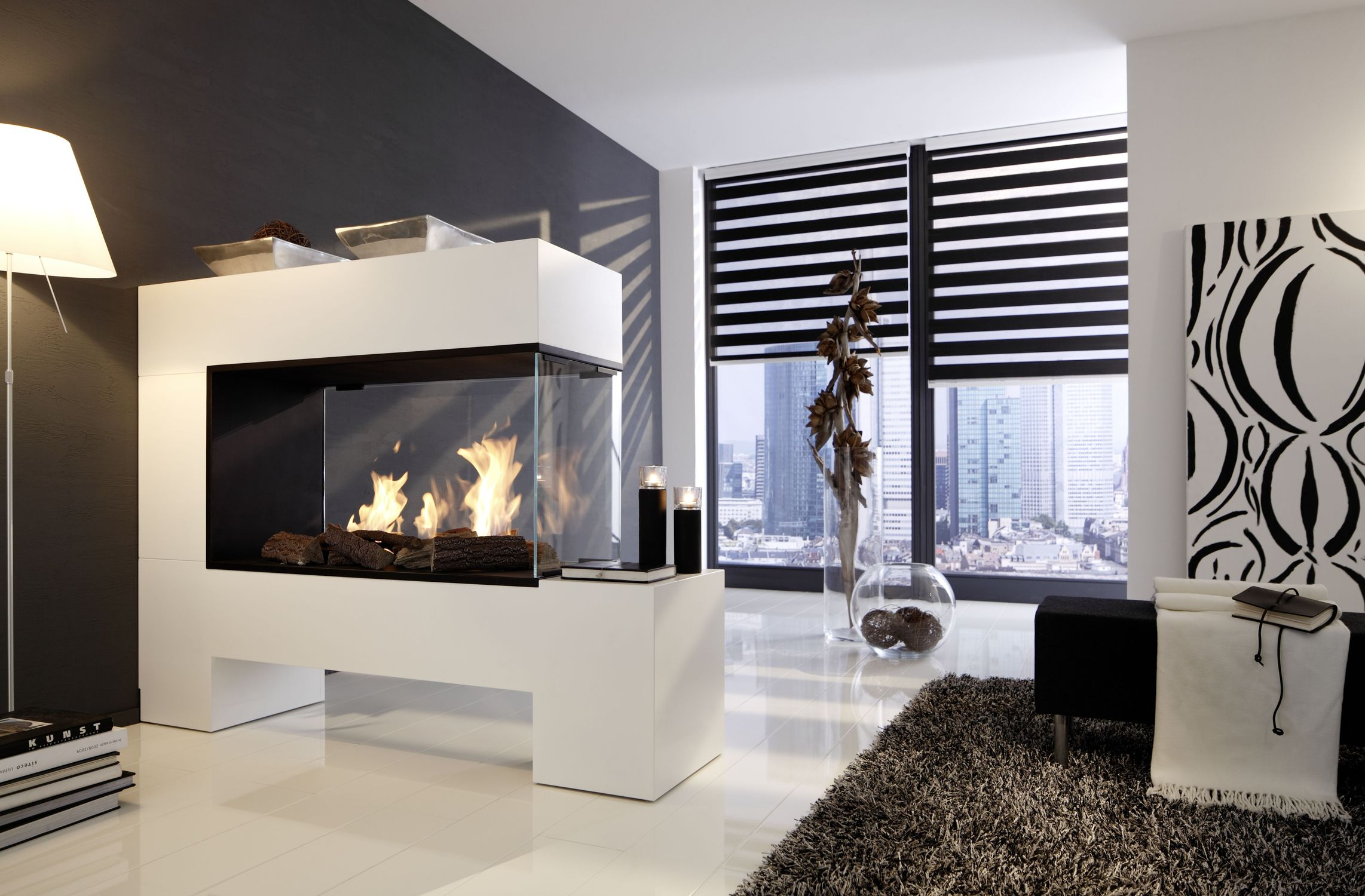 Kaminofen Store Test Bioethanol Fireplace Contemporary Open Hearth Double Sided