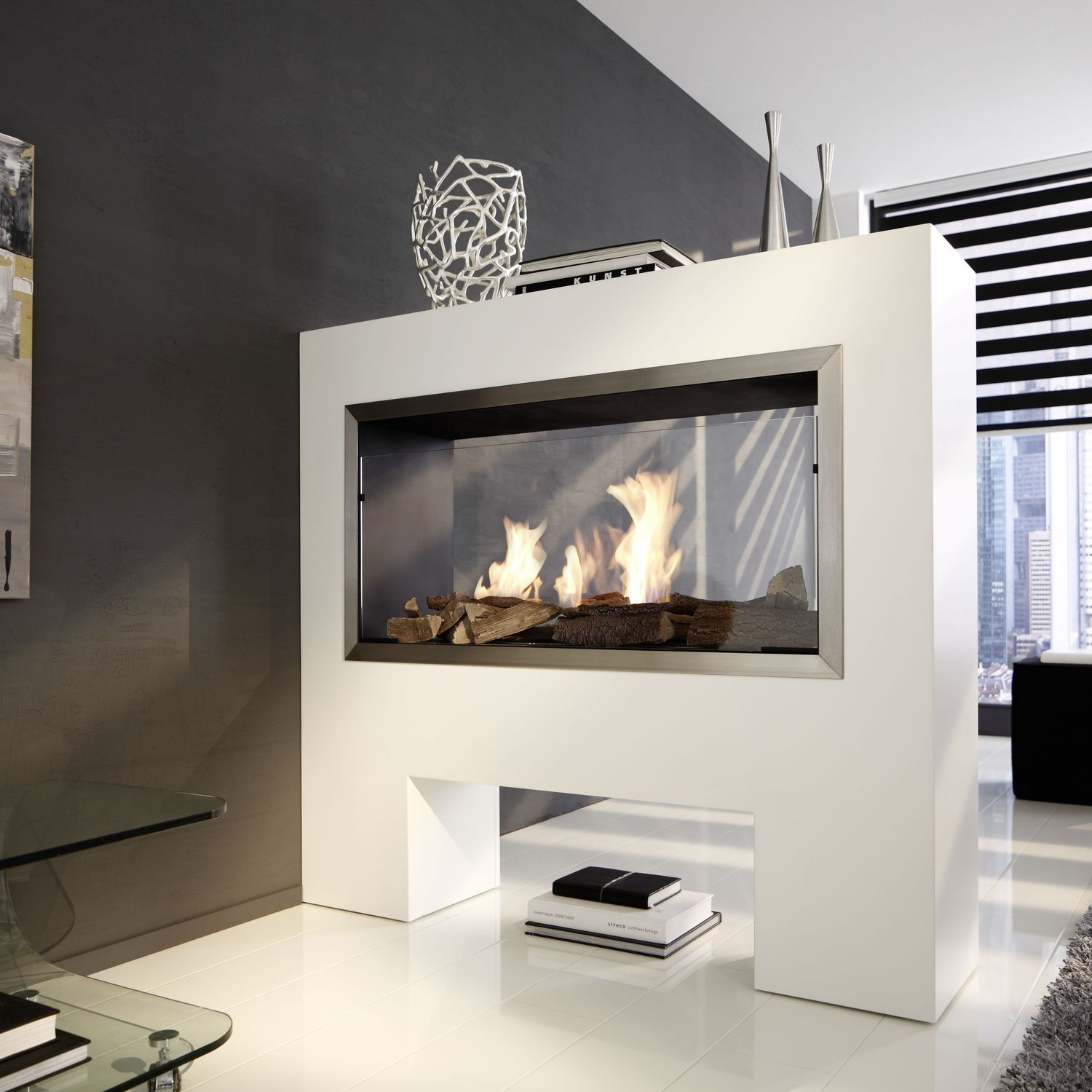Ethanol Standkamin Bioethanol Fireplace Contemporary Open Hearth Double Sided