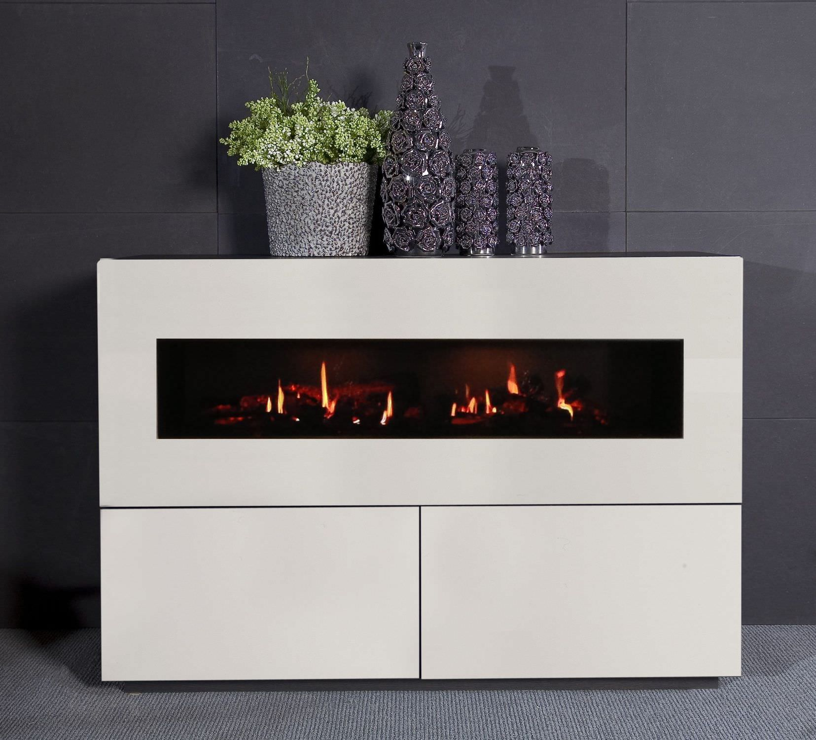 Kamin Modern Design Electric Fireplace Contemporary Closed Hearth Free Standing