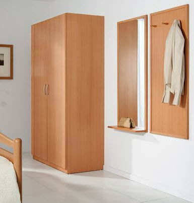 Contemporary wardrobe / wooden / with swing doors / for healthcare