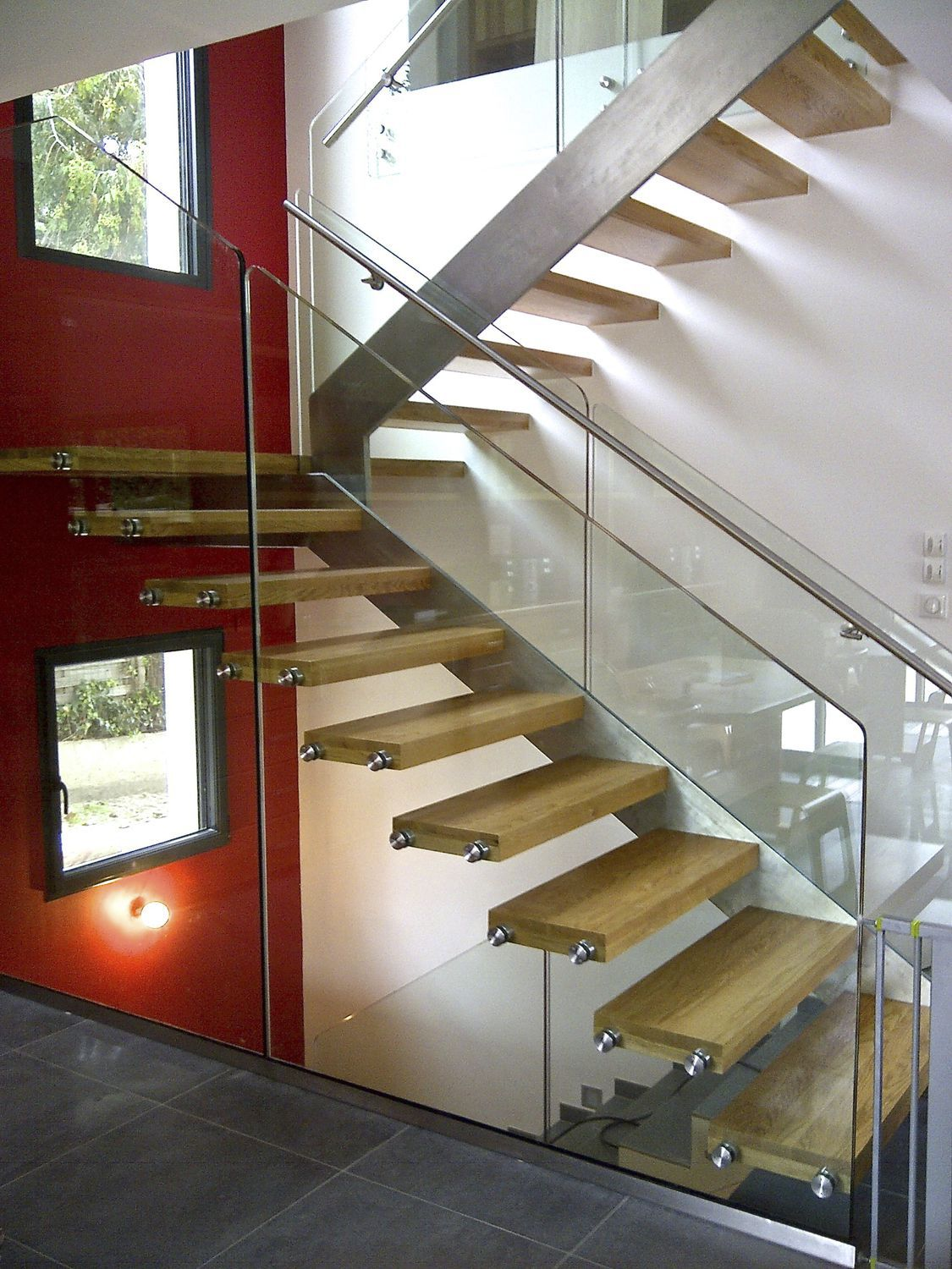 Escalier Bois Et Inox Straight Staircase Half Turn Stainless Steel Frame Glass