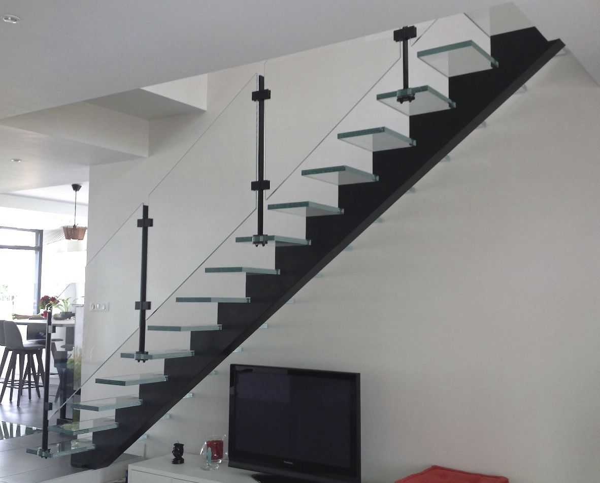 Escalier Noir Straight Staircase Steel Frame Glass Steps Without Risers