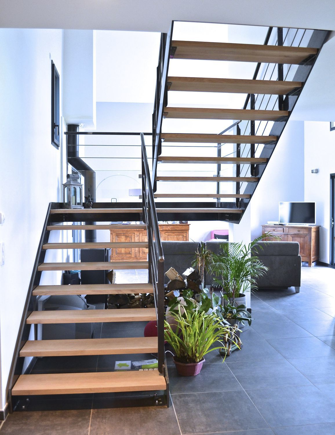 Escalier Acier Brut Half Turn Staircase Metal Frame Wooden Steps Without Risers