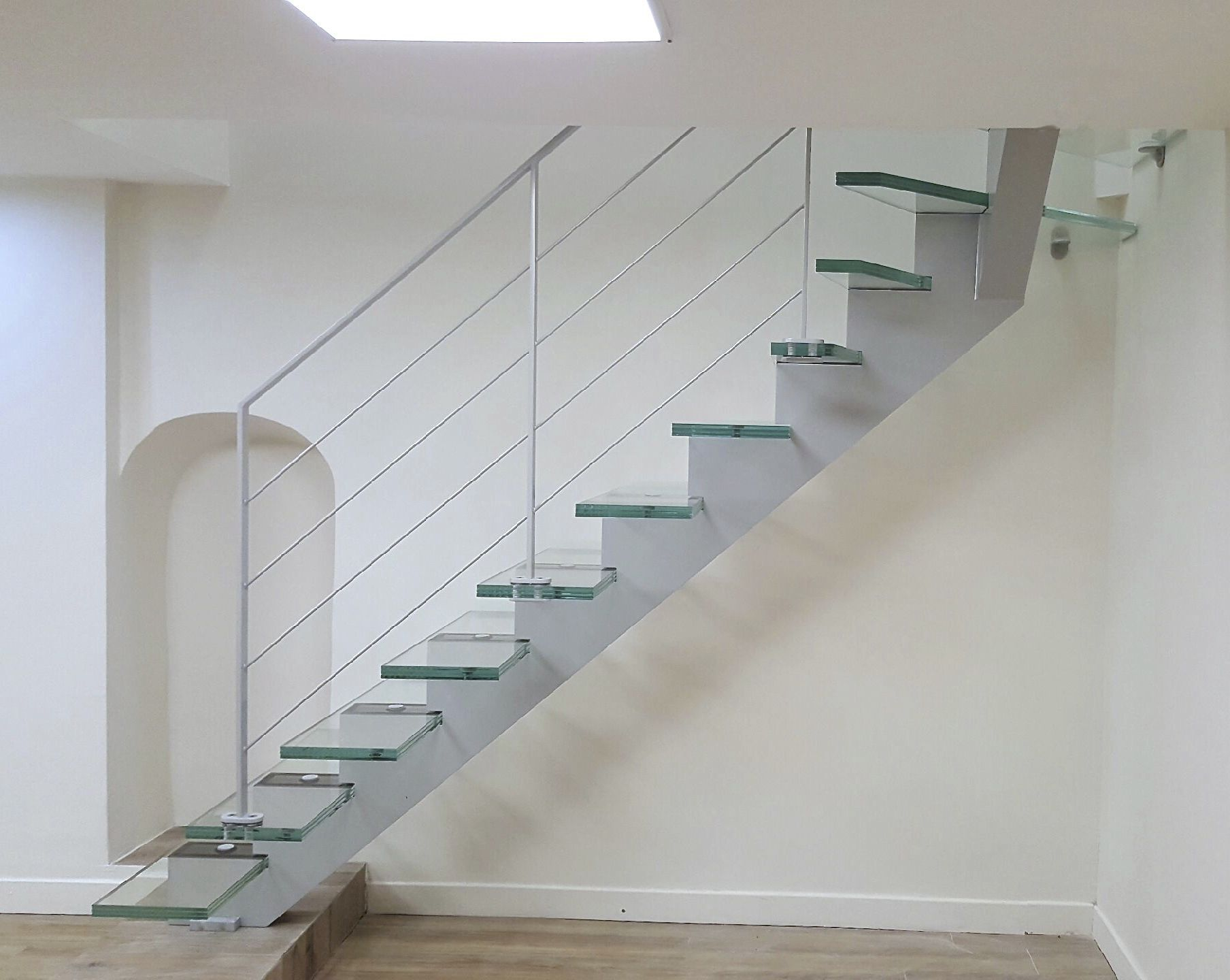 Escalier En Verre Quarter Turn Staircase Steel Frame Glass Steps Without