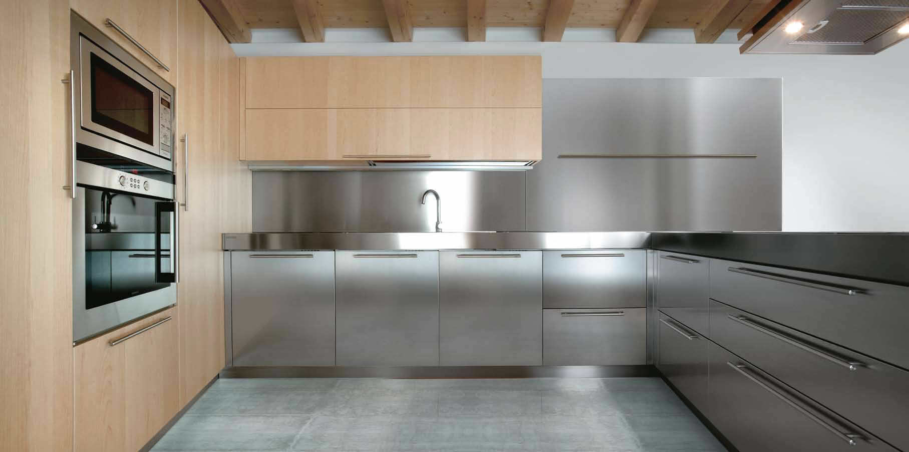 product metal kitchen cabinets Contemporary kitchen stainless steel solid wood wooden 01 C