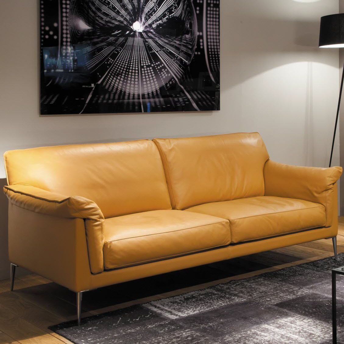 Contemporary Sofa Helium Duvivier Leather 2 Person Brown