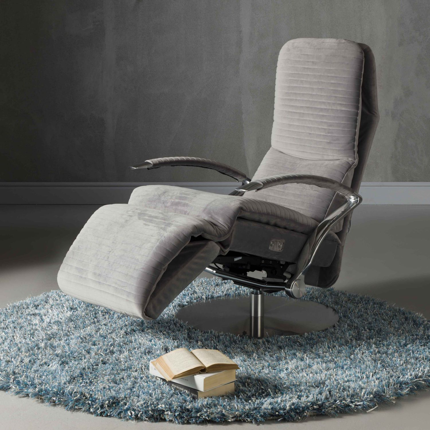 Divani Recliner Chair Contemporary Armchair Fabric Leather With Footrest Mila Divani Santambrogio