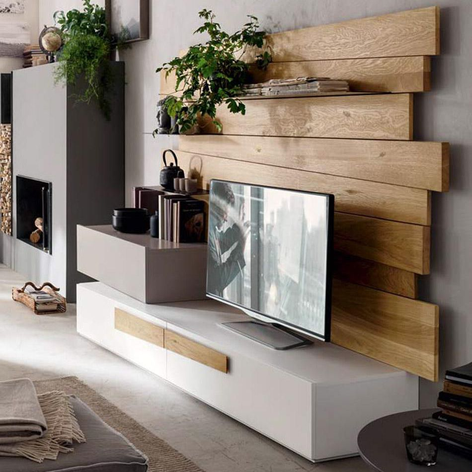 Wood Wall Behind Tv Contemporary Tv Wall Unit Natural Oak Metal Sc1001 Maronese