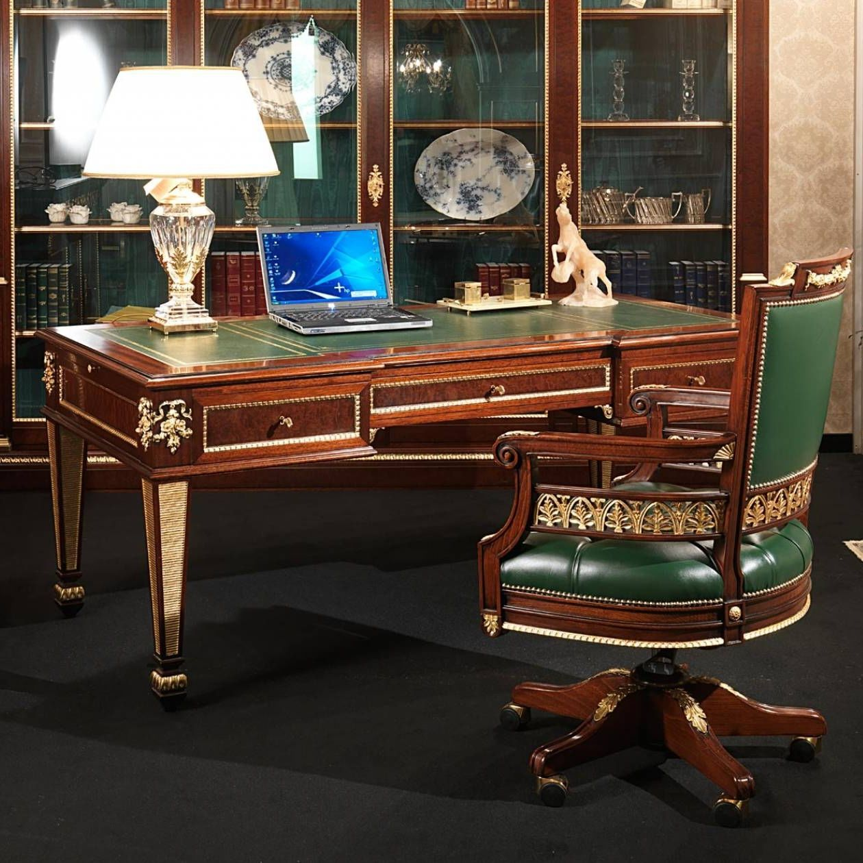 Classic Table Office Leather Desk Empire Style Ermitage Vimercati Meda Luxury