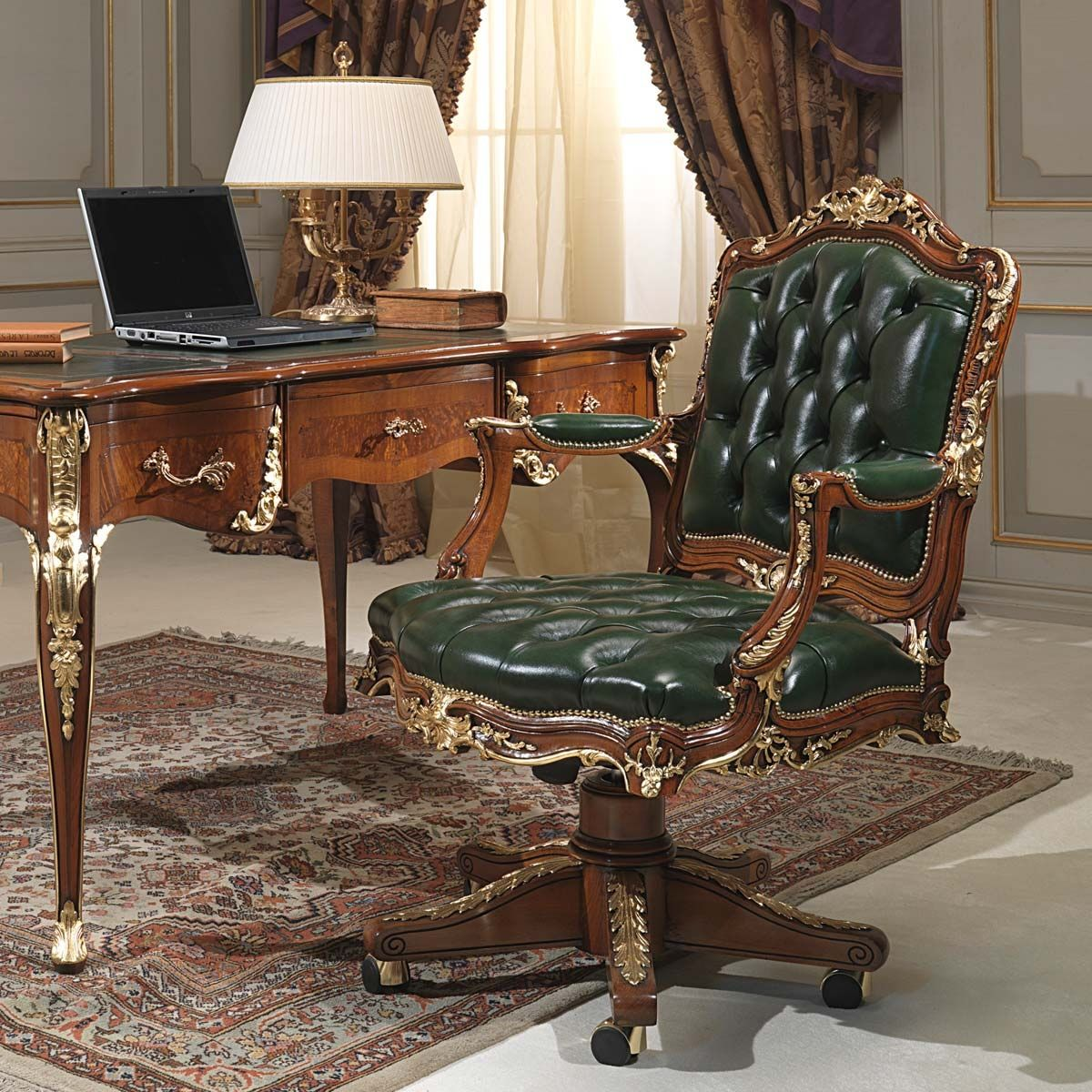 Classic Table Office Classic Office Armchair Wooden Leather Swivel Vimercati