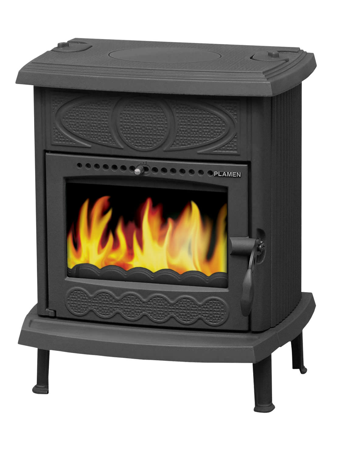 Heat Resistant Paint Fireplace Multi Fuel Heating Stove Traditional Cast Iron Glas Amity