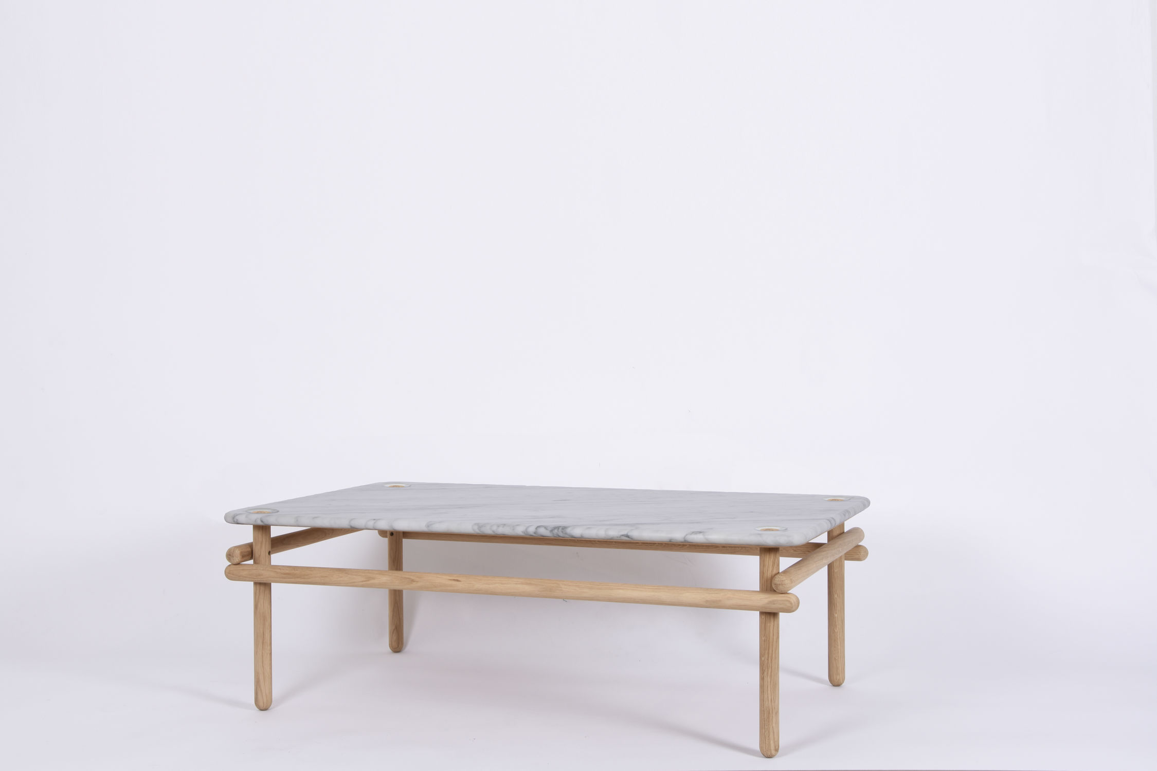 Table Basse Studio Contemporary Coffee Table Marble Solid Wood Natural Oak