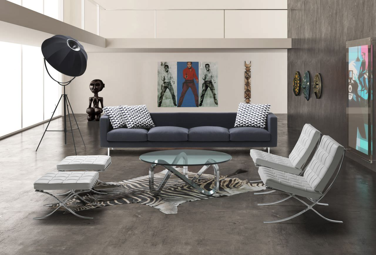 Contemporary Coffee Table Libra Kubikoff Glass Brushed Aluminum Round