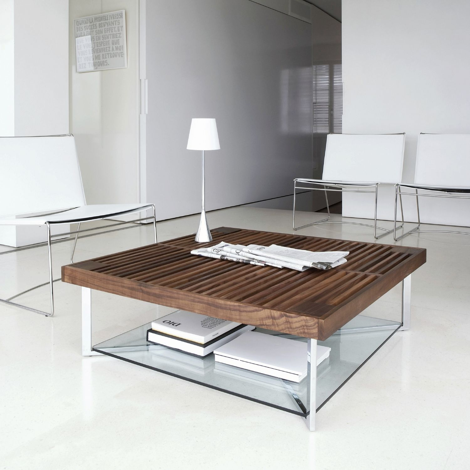 Table Noyer Design Contemporary Coffee Table Walnut Tempered Glass Chrome Steel