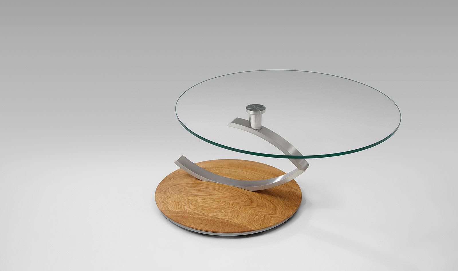 Venjakob Couchtisch 4400 Contemporary Coffee Table Glass Solid Wood Round 4019