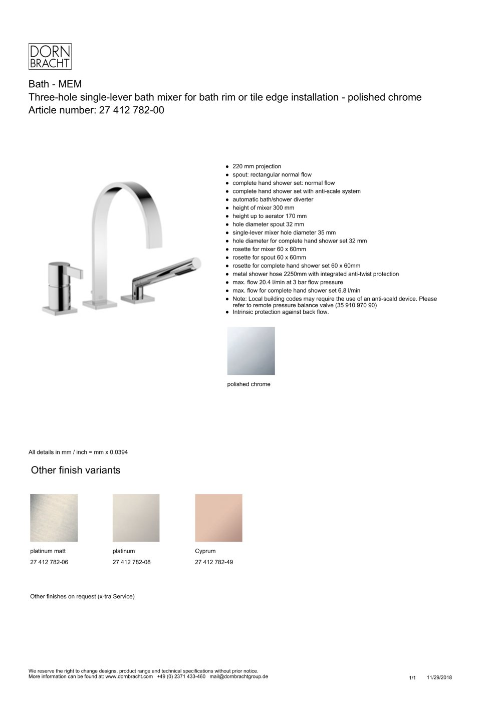 Dornbracht Mem Bath Mem Dornbracht Pdf Catalogs Documentation Brochures