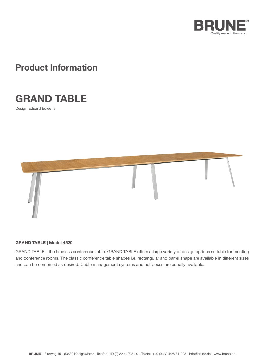 Classic Table Shapes Grand Table Model 4520 Brune Sitzmöbel Gmbh Pdf Catalogs