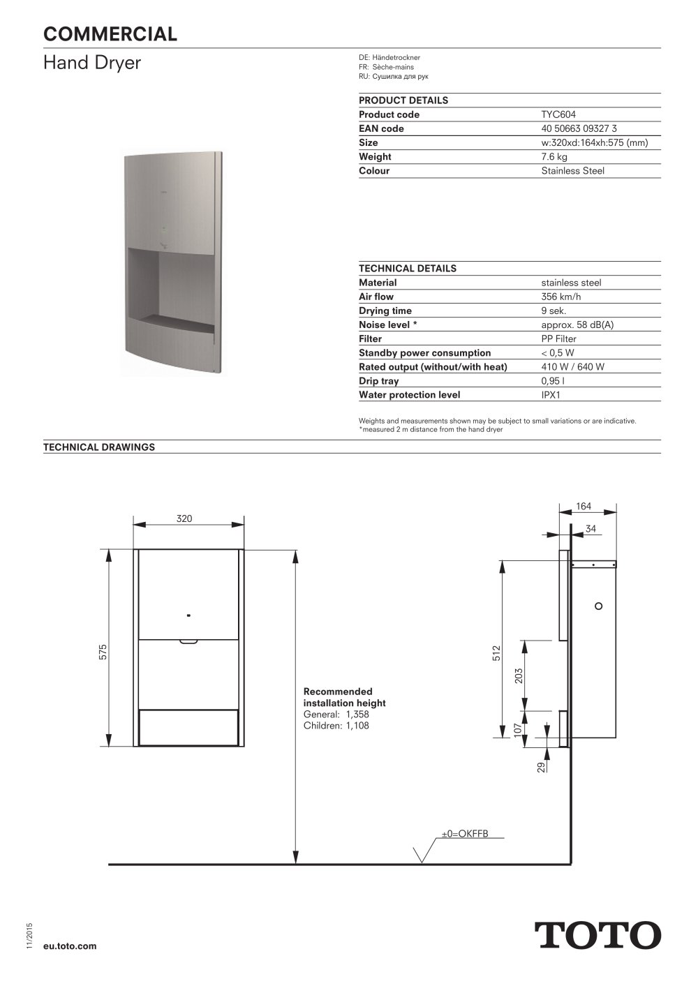 Toto Commercial Händetrockner Hand Dryer Toto Europe Gmbh Pdf Catalogs Documentation
