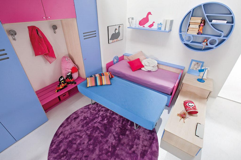 Kinderzimmer für Mädchen \/ blau - SPORT - ROLLER 2 - Faer Ambienti - kinderzimmer blau mdchen