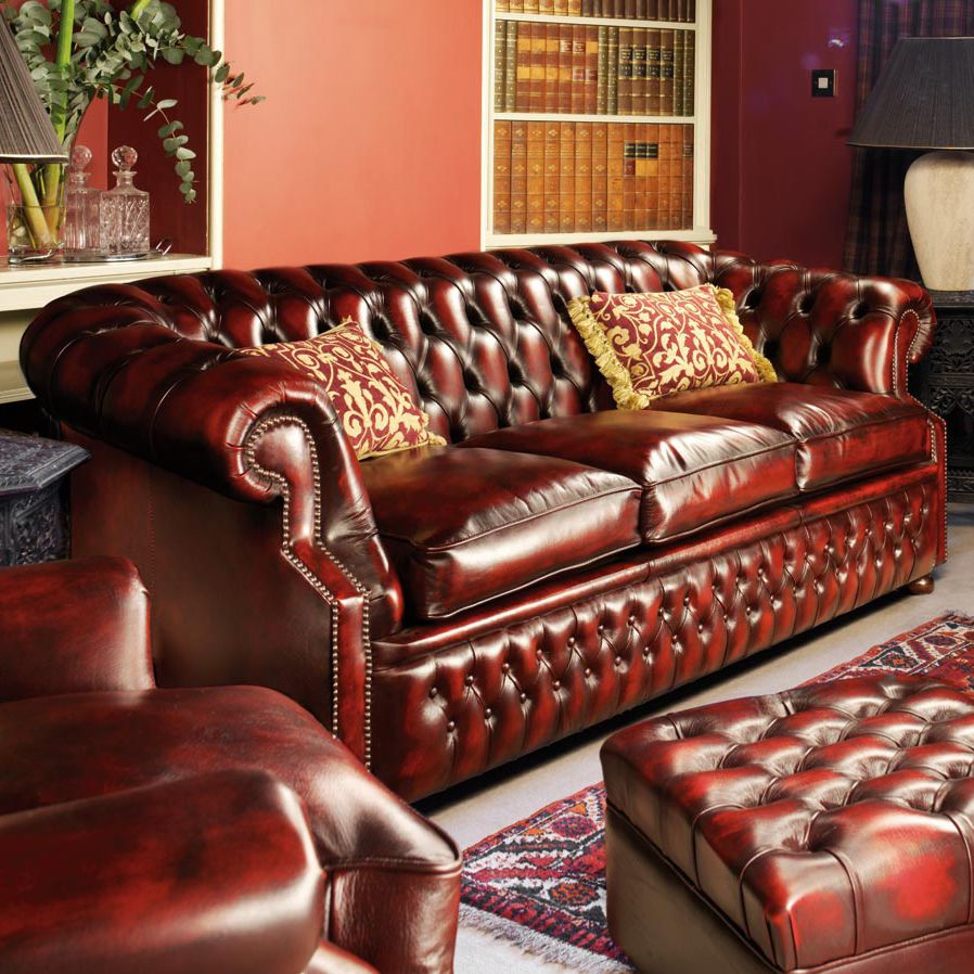 Chesterfield Sofa Leder Rot Chesterfield Sofa Leder 3 Plätze Rot Graham Fleming