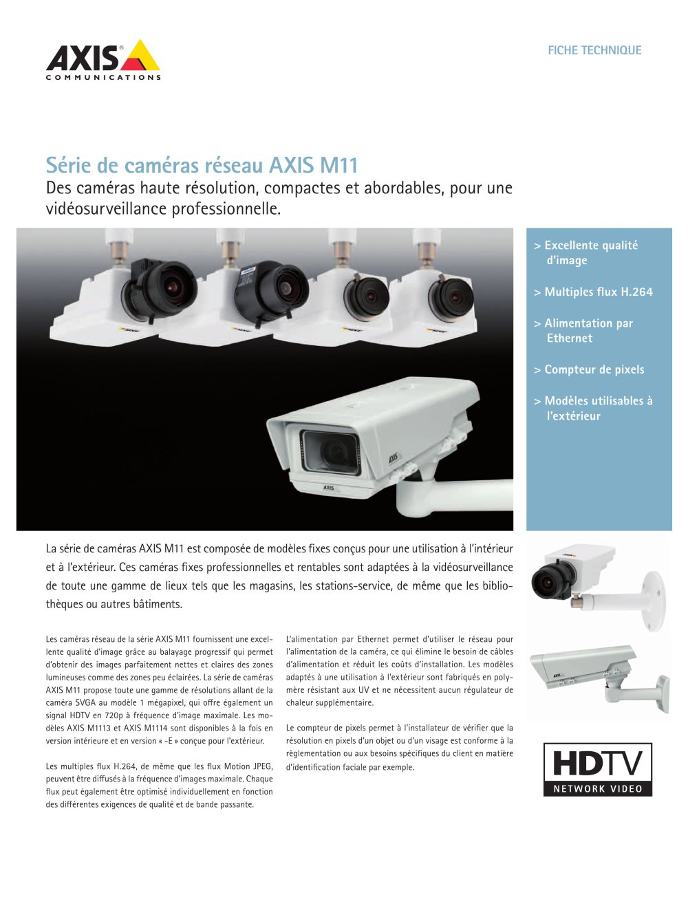 Camera Exterieur Qualite Axis M11 Network Camera Series Axis Communications Catálogo