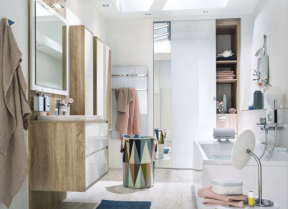 Salle de bain contemporaine / en chêne / laquée - AMBIANCE