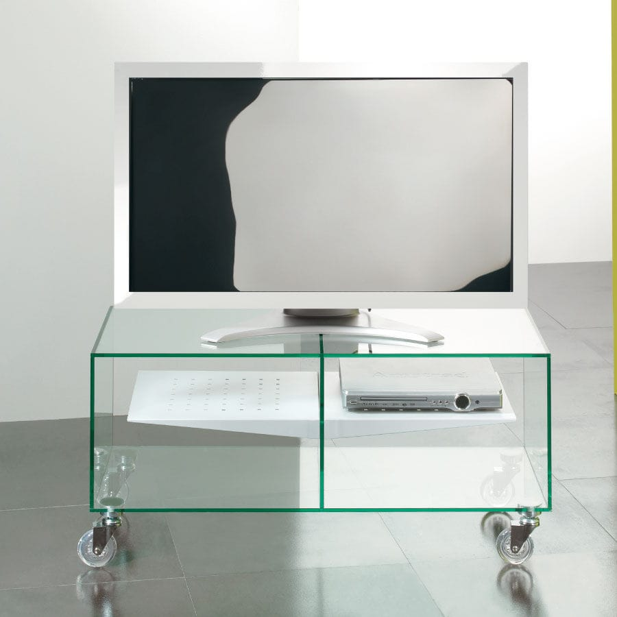 Meuble Tv Contemporain Disegno E Box 35 Pezzani Home Collection Avec Roulettes En Verre