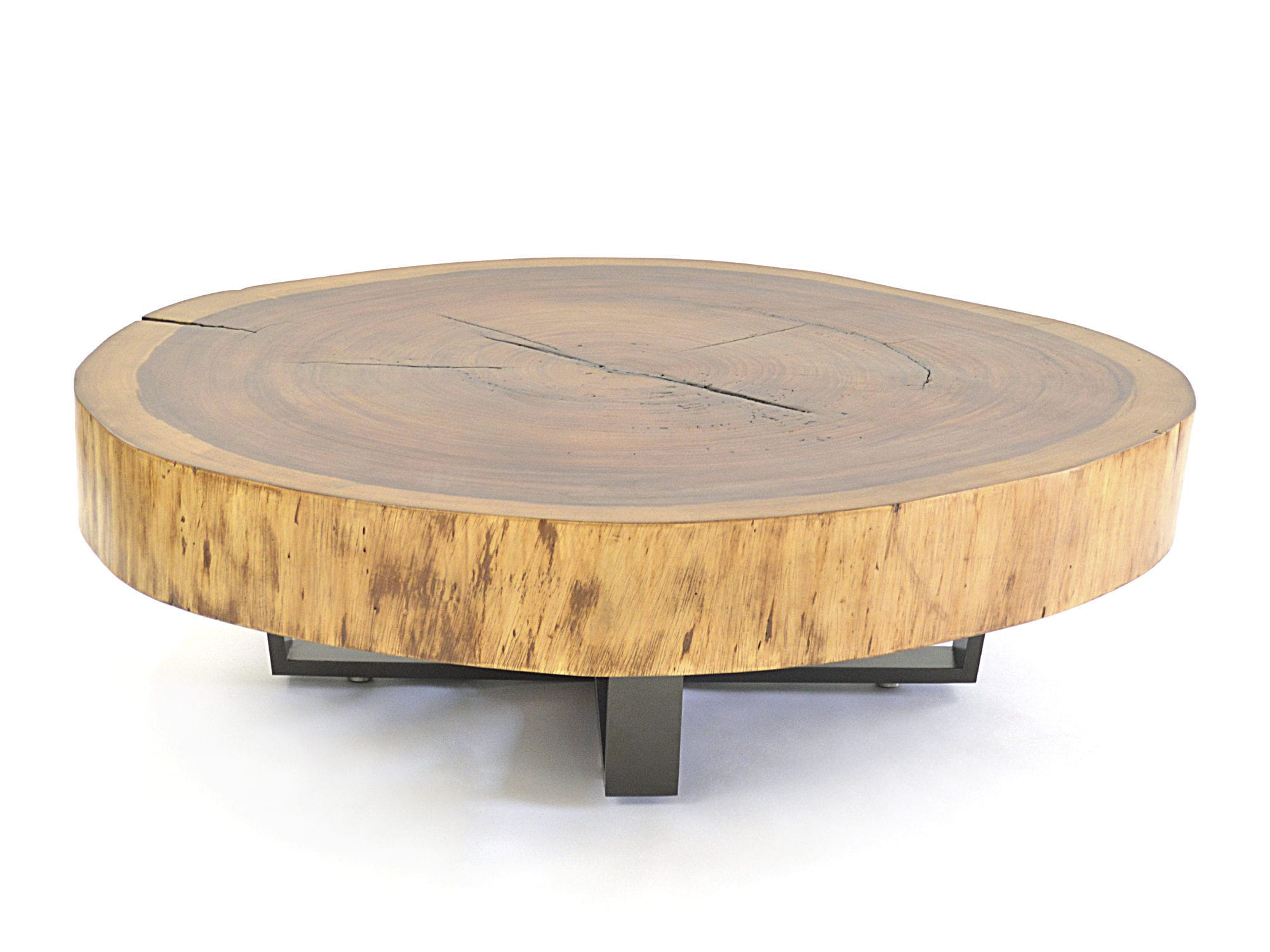 Table Basse Bois Metal Ronde Table Basse Contemporaine En Bois En Métal Ronde Bolacha