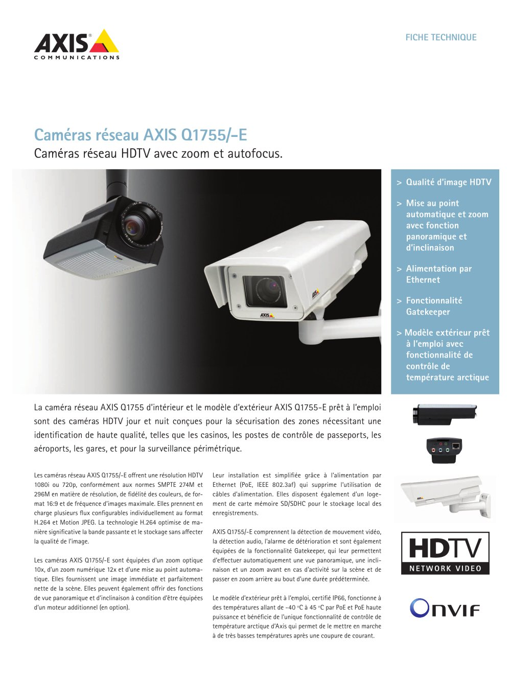 Camera Exterieur Qualite Axis Q1755 E Network Cameras Axis Communications Catalogue