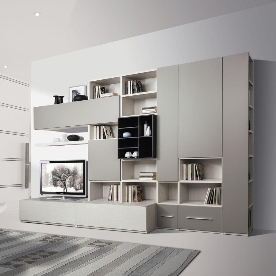 Parete attrezzata soggiorno giessegi angolo studio in for Casa moderna immobiliare foligno