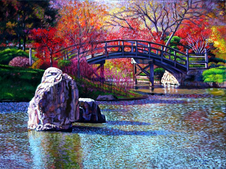 Fall in the garden paintings by john lautermilch