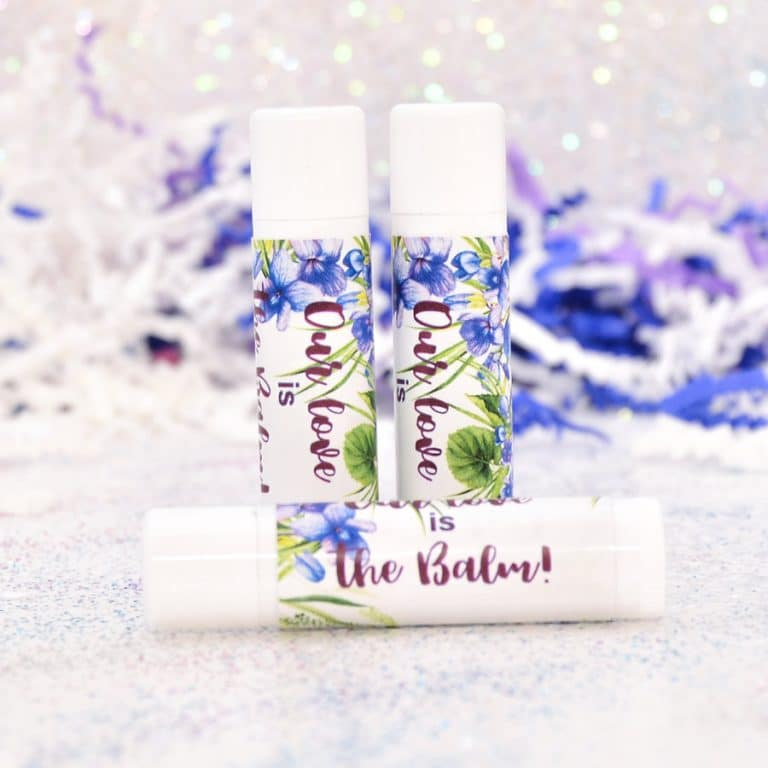30 Violet Lip Balm Stickers, Personalized Labels, Wedding Lip Balms